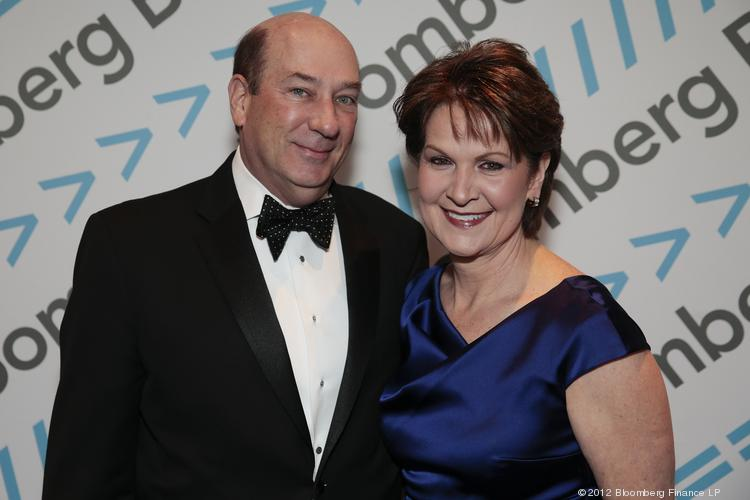 Marillyn Hewson, CEO of Bethesda-based Lockheed Martin, right, and her husband James Hewson attend the Bloomberg cocktail party before the White House Correspondents' Association dinner on April 27. The 99th annual dinner raises money for WHCA scholarships and honors the recipients of the organization's journalism awards.