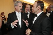 Majority Whip Kevin McCarthy, a R-Calif., left, talks to actor Kevin Spacey.