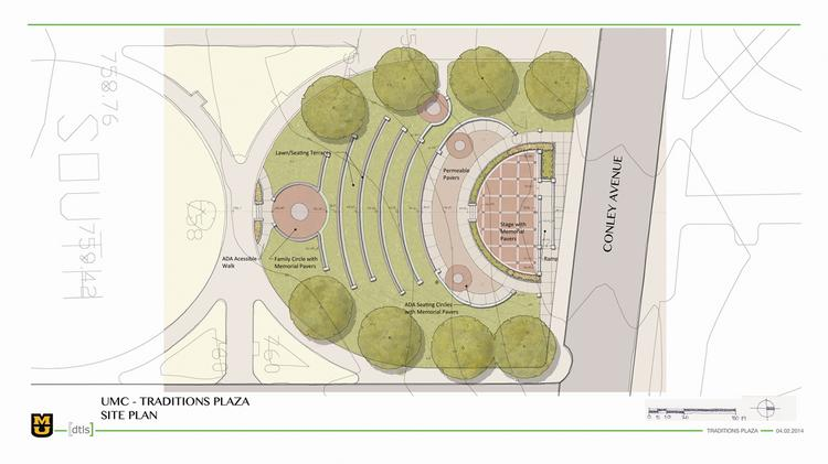 An overhead rendering of Traditions Plaza, an outdoor amphitheater set to open in fall 2014.