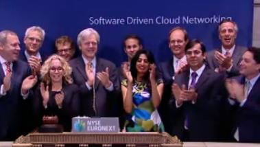 Arista Networks executives rang the opening bell of the New York Stock Exchange Friday after the Santa Clara company raised $226 million in an IPO that topped its targets.