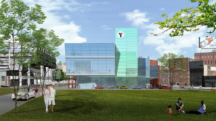 An artist rendering of the Greater Boston YMCA that was planned for the Greenway until the idea became too expensive.
