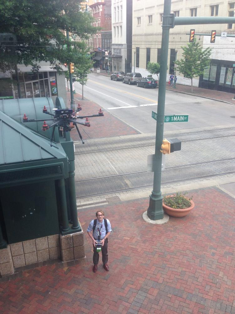 Eric Knight, co-founder of Drone Stuff, tests one of his drones on South Main Street in Downtown Memphis.