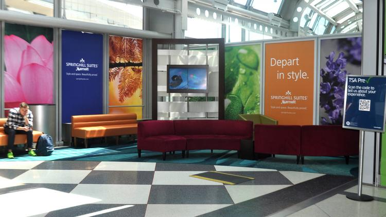SpringHill Suites has provided a new look for one O'Hare Airport security checkpoint.