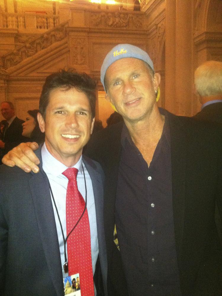 Billy Cuthrell of Raleigh (left), with Chad Smith, drummer of the Red Hot Chili Peppers. The two have been friends for over 20 years.