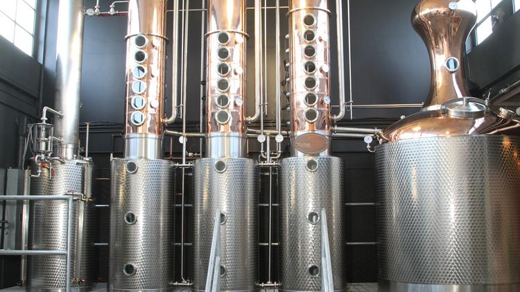 The new still increases production ten-fold at Watershed Distillery.