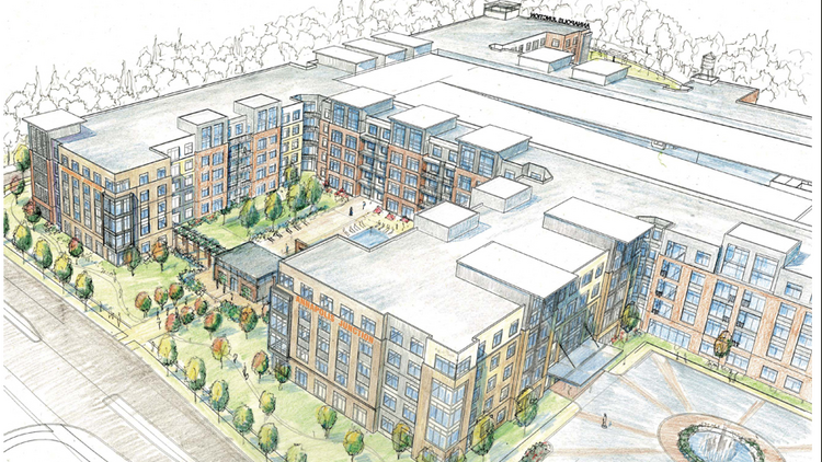 An artist's rendering shows apartments at the Annapolis Junction Town Center.