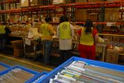 Employees of The Body Shop sort products at the Wake Forest distribution warehouse that are headed to the company's retail store locations across the U.S.