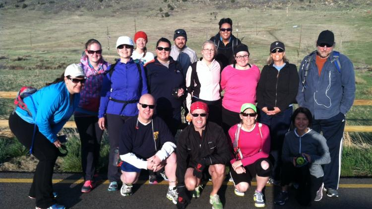 """Students gather for a 15-mile training run near the end of the 22-week Red Rocks Community College """"Change Through Challenge"""" business class."""