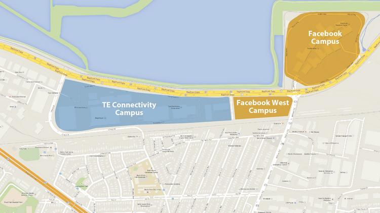 Facebook Inc. has struck a deal to buy the 10-building Menlo Park campus of TE Connectivity. Map courtesy of Google.