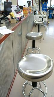 The check-out counter at River Valley Supply includes stools to rest weary bodies.