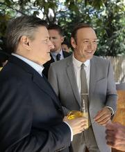 Ted Sarandos, chief content officer for Netflix, left, and actor Kevin Spacey.