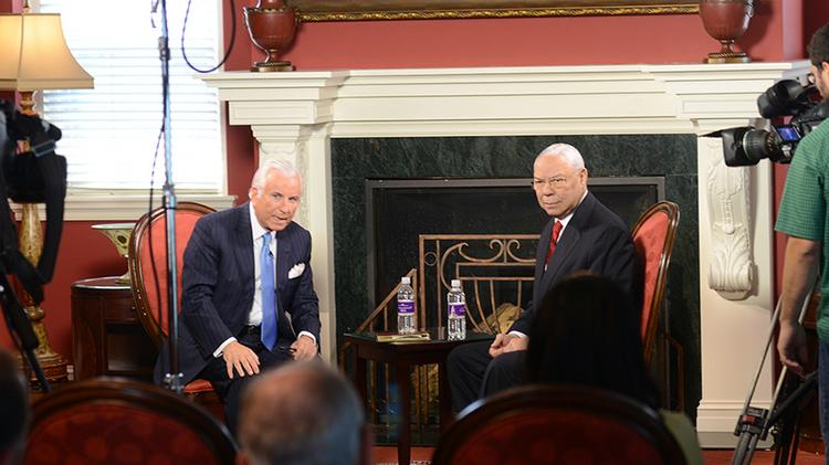 "Nido Qubein, HPU president, and Colin Powell during the taping of ""A Conversation with Nido Qubein and Colin Powell"" on the HPU campus."