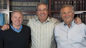 Gary Peterson (center) stands with Dr. Marc Philippon, co-chairman (left) and Dr. Richard Steadman, founder and co-chairman (right), shortly after being named CEO of The Steadman Group and the Steadman Phillippon Research Institute.