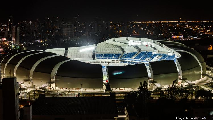 Arena das Dunas stadium in Natal, Brazil, will host matches during the 2014 FIFA World Cup. The 42,000-seat stadium was designed by Kansas City sports architecture firm Populous.
