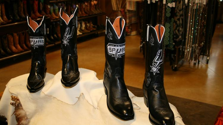 Almost as handsome as the players themselves — the special edition Spurs boots from Lucchese.