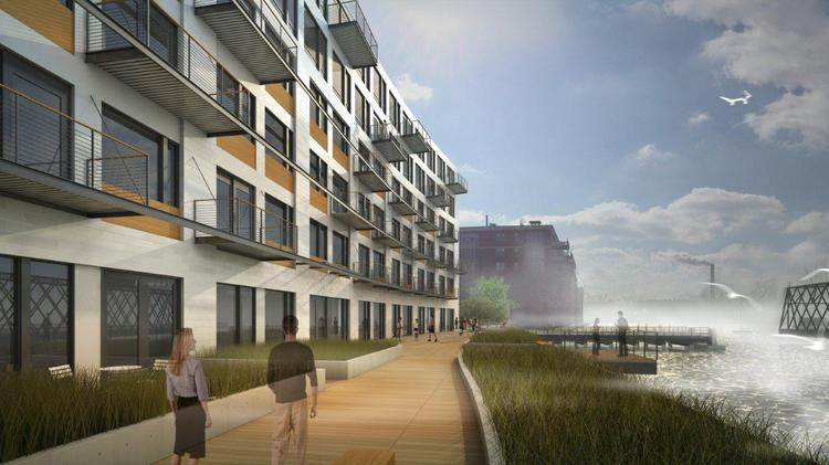 The river walk for the DoMUS building would include large planters with native grasses and a small platform extending about six feet over the river.