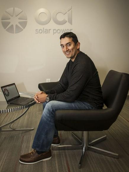 San Antonio resident Edward Holder, 40, joined OCI Solar Power as a network engineer. OCI and other CPS clean-energy suppliers have created 378 full-time jobs here, according to a new study.
