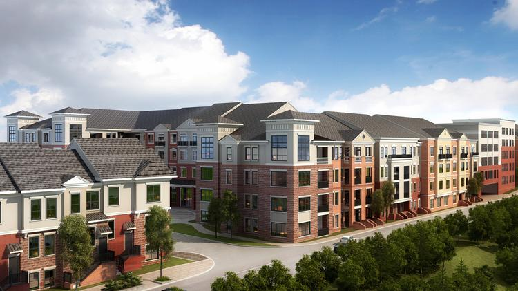 An artist's rendering of the proposed 335-unit Creekside at Crabtree multifamily development on Crabtree Valley Avenue south of Crabtree Valley Mall.