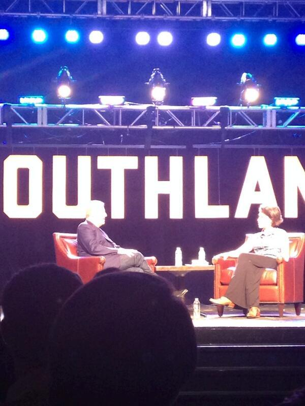 Former Vice President Al Gore talks with Sarah Lacy, CEO and editor-in-chief of PandoDaily at the Southland Conference Tuesday.