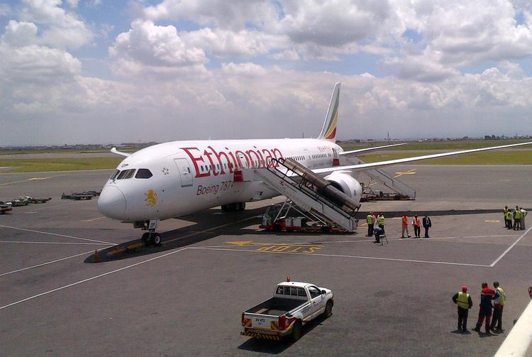 One of the Ethiopian Airlines' 787 Dreamliner airplanes, manufactured by Boeing Co.