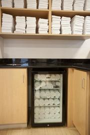 A refrigerated cabinet keeps chilled towels for guests using the fitness center at the Marriott.
