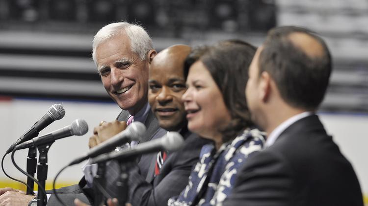 Pete Coors, chairman of the host committee attempting to bring the 2016 Republican National Convention to Denver; Denver Mayor Michael  Hancock; site selection committee chairwoman Enid Mickelsen; and RNC Chairman Reince Priebus talk to the press about Denver hosting the convention in the summer of 2016.