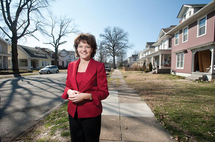 Wendy Dant Chesser, president and CEO of One Southern Indiana, grew up in this neighborhood in Jeffersonville and is quite happy to be back home in Indiana for her new position.
