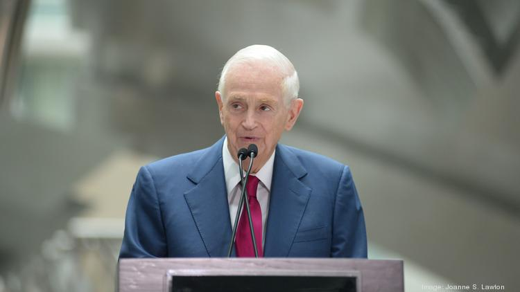 Marriott Executive Chairman Bill Marriott reminisces about his company's history in Washington at the dedication of the Marriott Marquis Washington D.C. June 10.