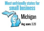 No. 5. (tie) Michigan, with an average score of 3.20 on a 5-point scale in a survey of small businesses by Thumbtack.com. The state ranks No. 17 among small businesses in the technology and creative fields. This ranking excludes smaller states with fewer than 25 responses.