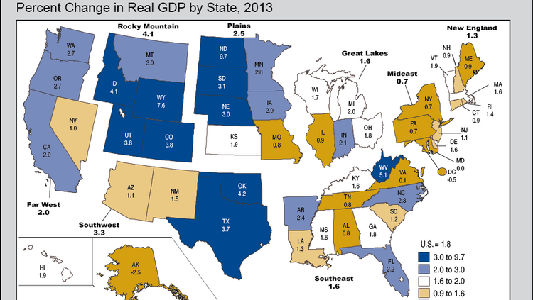 Marylands economy had no growth in 2013 ranking 49th in us this map shows the change in gdp across us states freerunsca