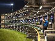 A photo of the Topgolf hitting bays from The Colony, Texas location.