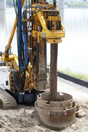 A drilling rig at the base of Interstate 65 in Jeffersonville drilled a test shaft for a pier.
