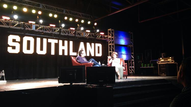 PandoDaily CEO and Editor-in-Chief Sarah Lacy takes questions from Evernote CEO Phil Libin during the final interview segment of the Southland Conference.