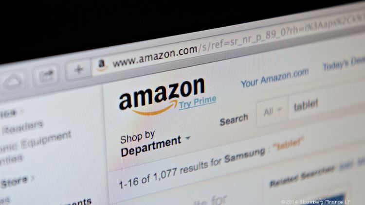 The Amazon.com Inc. website is displayed on a computer screen.