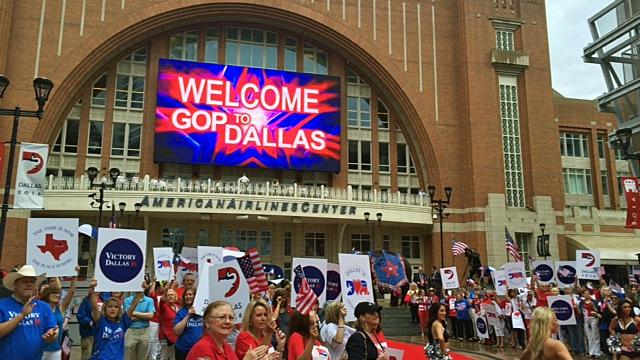 A crowd greeted Republican convention site selectors at the American Airlines Center in June.