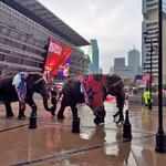 Dallas follows Denver's low-key Republican convention pitch with elephants, cheerleaders, <strong>Sue</strong> <strong>Ellen</strong>
