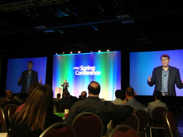 Scott Durchslag, president of BestBuy.com, spoke at the Minnesota High Tech Association spring conference on Tuesday.