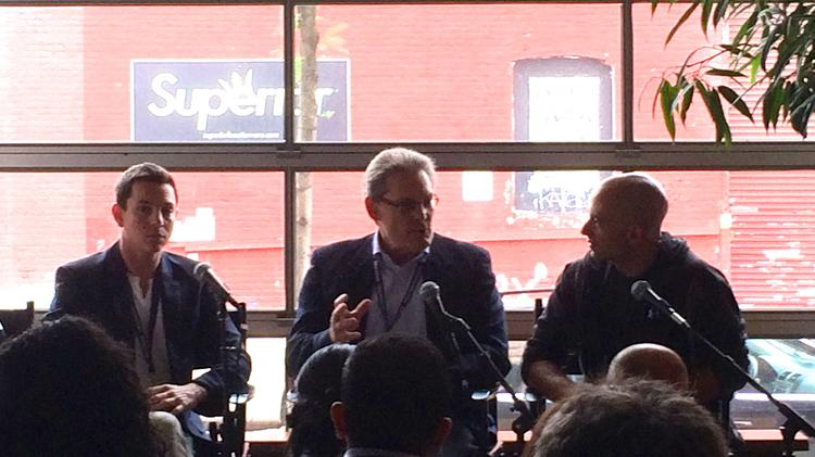 (left to right) Eli Broverman, cofounder of Betterment, George Crane of UHY Advisors, and Charlie O'Donnell, of Brooklyn Bridge Ventures, talk during a Northside Festival panel Thursday.