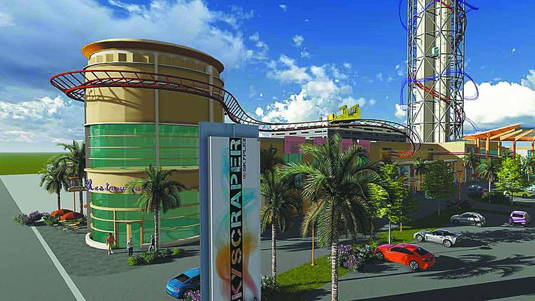 Rendering of Skyplex and the Skyscraper roller coaster set to be built in Orlando's International Drive tourist corridor.