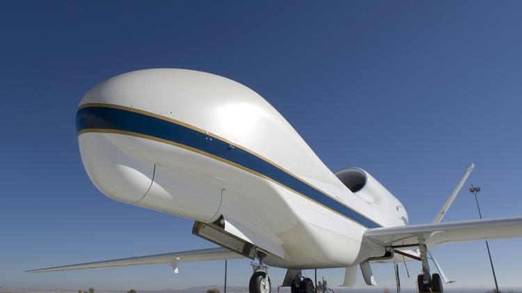 A Global Hawk unmanned science aircraft displays its bulbous nose.