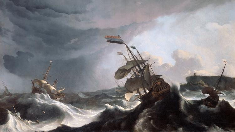 "Ludolf Bakhuysen 1695 painting ""Warships in a Heavy Storm,"" at the Rijksmuseum in Amsterdam."
