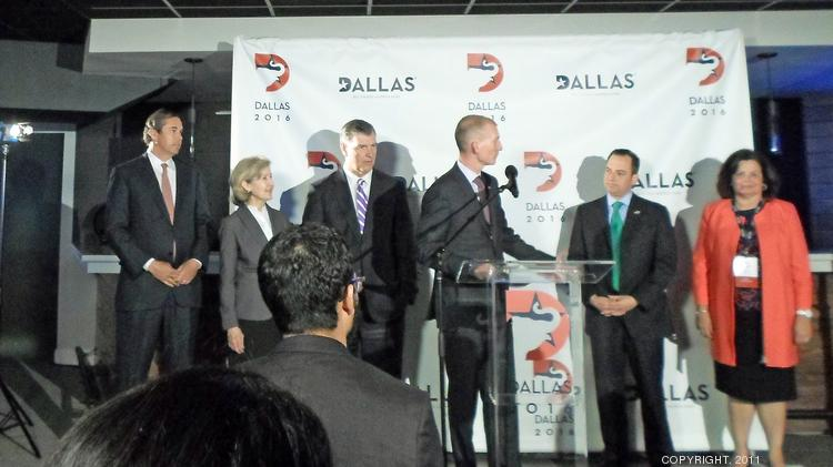 GOP site selection members join Dallas officials at a press conference held at the American Airlines Center.