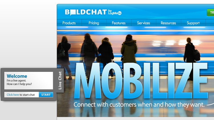 Clients of BoldChat can chat online with their customers, as demonstrated here on the BoldChat website.