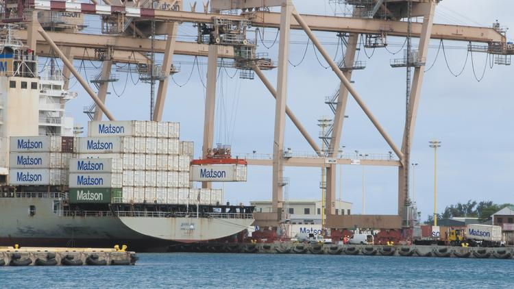 Cranes load 40-foot containers onto the Manulani at Matson's facilities in Honolulu Harbor in this file photo.