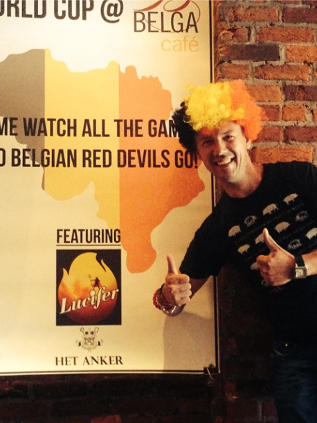Belga and B Too owner Bart Vandaele getting pumped for the opening game of the World Cup June 12 — not to mention Belgium's upcoming matches.