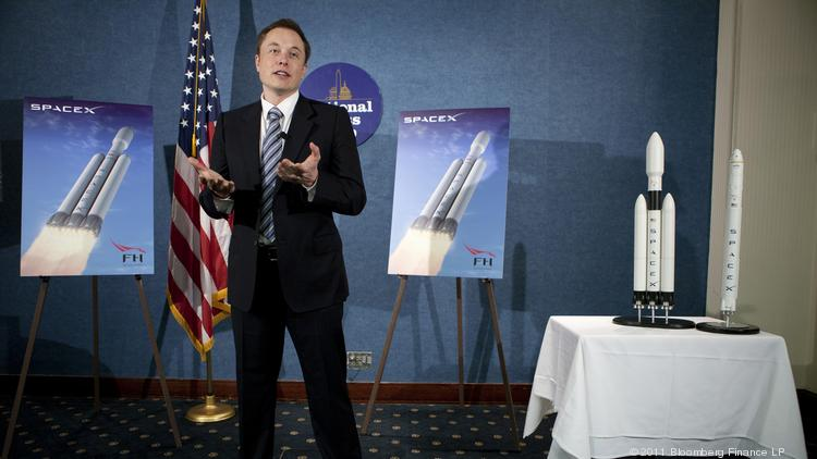Elon Musk, chief executive officer of Tesla Motors Inc. and Space Exploration Technologies Inc. known as SpaceX, speaks at a news conference at the National Press Club in Washington, D.C.