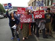 """Protesters chanted """"vote them out"""" outside town hall in East Greenbush, New York after the town board voted unanimously Thursday to support plans for a $300 million casino on Thompson Hill Road off Route 4."""
