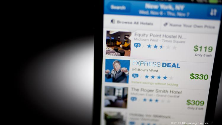 A Priceline app is displayed on a mobile device.