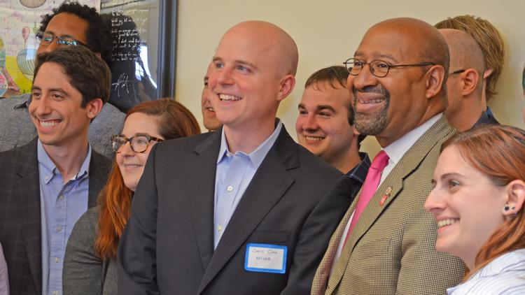 Mayor Nutter poses for a photo with the Arcweb team.