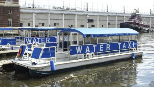 A Water Taxi docked at Baltimore Harbor Maryland, similar to the one ordered by the City of Jacksonville.